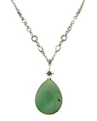 Stephen Dweck Green Agate Teardrop Pendant Necklace