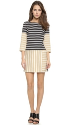 4.Collective Striped 3 4 Sleeve Dress Black Tan Multi