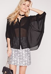 Missguided Sheer Circle Hem Chiffon Blouse Black Black