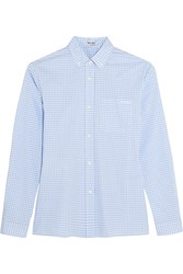 Miu Miu Gingham Cotton Poplin Shirt Sky Blue