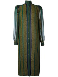 Jean Louis Scherrer Vintage Striped Shirt Dress Green