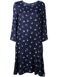 Odeeh Floral Print Shift Dress Blue