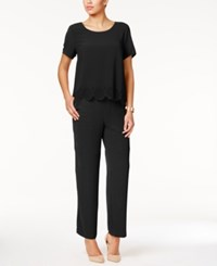 Ny Collection Laser Cutout Popover Jumpsuit Black