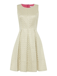 Untold Jacquard Dress With Box Pleats Ivory