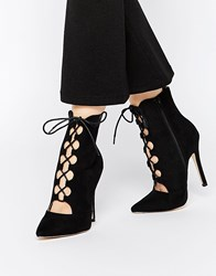 Truffle Collection Skye Lace Point Heeled Ankle Boots Black Mf