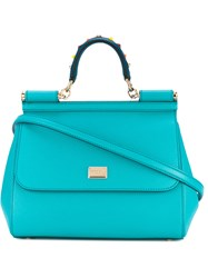 Dolce And Gabbana Sicily Tote Women Calf Leather One Size Blue
