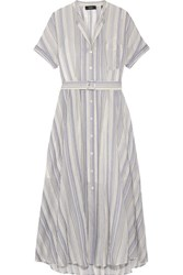 Theory Avink Striped Crinkled Cotton And Silk Blend Midi Dress Cream