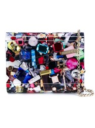 Jimmy Choo Candy Crystal Embellished Clutch With 3D Gem Print Multicolour
