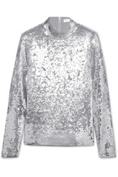 Veronica Beard Lucina Sequined Stretch Tulle Top Silver