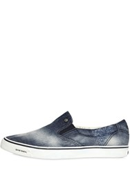 Diesel Washed Cotton Denim Slip On Sneakers