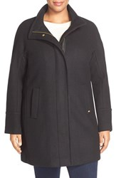 Plus Size Women's Ellen Tracy Wool Blend Stadium Coat Black