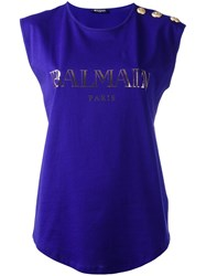 Balmain Logo Sleeveless T Shirt Pink Purple