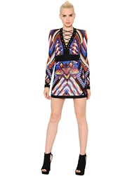 Balmain Lace Up Geometric Jacquard Dress