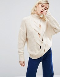 Lost Ink Plaited Cable Knit Sweater Cream