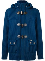 Bark Knitted Duffle Cardigan Blue