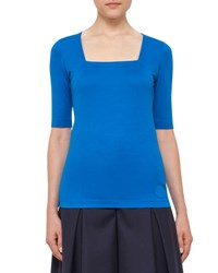 Akris Punto Stretch Cotton Square Neck Top Azure
