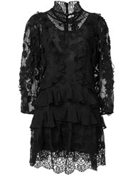Rebecca Taylor Ruffle Long Sleeve Dress Black