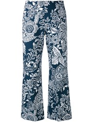 Fay Printed Cropped Trousers Women Cotton 46 Blue