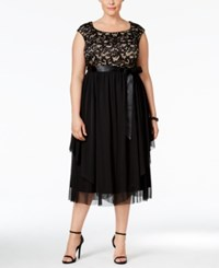 R And M Richards Plus Size Lace A Line Dress Black Taupe