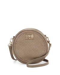 Class Roberto Cavalli Round Diane Studded Leather Crossbody Taupe