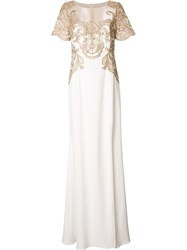 Marchesa Notte Gold Tone Embroidery Long Dress White