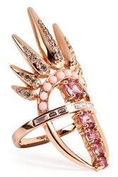 Nikos Koulis 18Kt Pink Gold Spectrum Ring With Diamonds And Tourmaline