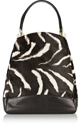 Valentino Leather Trimmed Zebra Print Calf Hair Tote Black