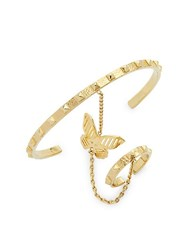 Valentino Garavani Goldtone Stud And Butterfly Cuff And Ring Set