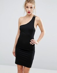 New Look One Shoulder Bodycon Dress Black