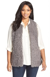 Vince Camuto Shaggy Faux Fur Vest Plus Size Steel Heather