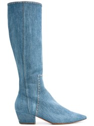 Ermanno Scervino Knee Length Denim Boots Blue