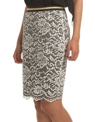 Trina Turk Sakura Blossom Lace Pencil Skirt White