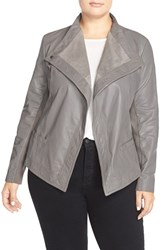 Plus Size Women's Sejour Asymmetrical Leather Jacket Grey Shade