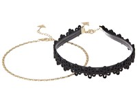 Guess Flower Choker And Dainty Chain Choker Necklace Set Gold Jet Necklace Black