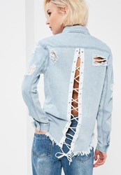 Missguided Blue Lace Up Back Denim Shirt