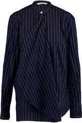 Dion Lee Draped Pinstriped Woven Cotton Shirt Midnight Blue