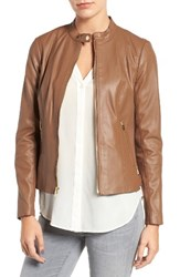 Via Spiga Women's Leather And Ponte Band Collar Jacket Cognac