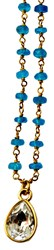 Isabella Tropea Gemstone Chain Confetti Necklace Teal Apatite Clear