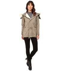 Dylan By True Grit Stonewashed Cotton And Canvas Surplus Coat Faded Olive Women's Coat