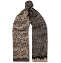 Missoni Zig Zag Patterned Wool Blend Jacquard Scarf Brown