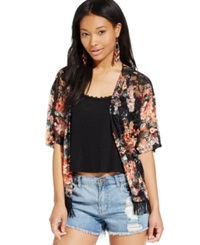 Almost Famous Juniors' Fringed Kimono Jacket Black Coral