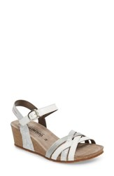 Mephisto Mado Wedge Sandal White Leather