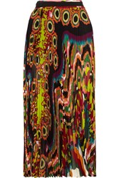 Roberto Cavalli Pleated Printed Silk Georgette Maxi Skirt Orange