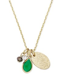 Macy's Inspired Life Gold Tone Multi Charm Stone Pendant Necklace Green