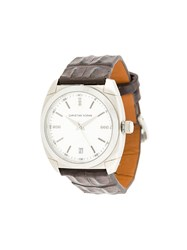 Christian Koban Dom Watch Diamond Aligator Leather Stainless Steel Brown