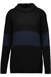Belstaff Rosie Ribbed Knit Mohair Blend Sweater Black