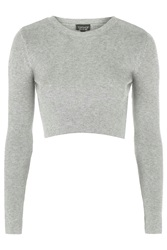 Topshop Ribbed Crew Neck Cropped Jumper Grey Marl