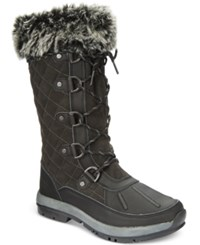 Bearpaw Women's Gwyneth Quilted Lace Up Cold Weather Boots Women's Shoes Black Gray