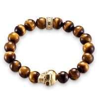 Thomas Sabo Rebel At Heart Tiger S Eye Bracelet W Skull Brown