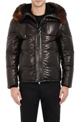 Givenchy Hooded Leather Puffer Coat With Zip Off Sleeves Colorless Siz